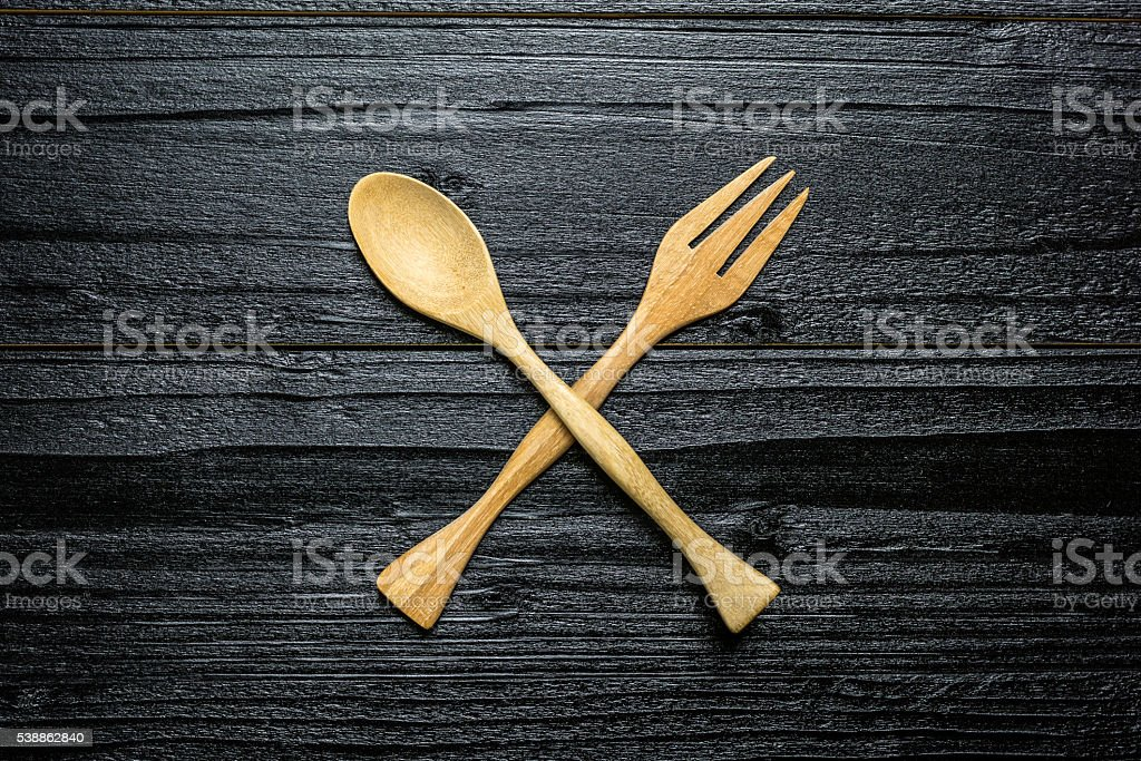 Wooden spoon and fork royalty-free stock photo