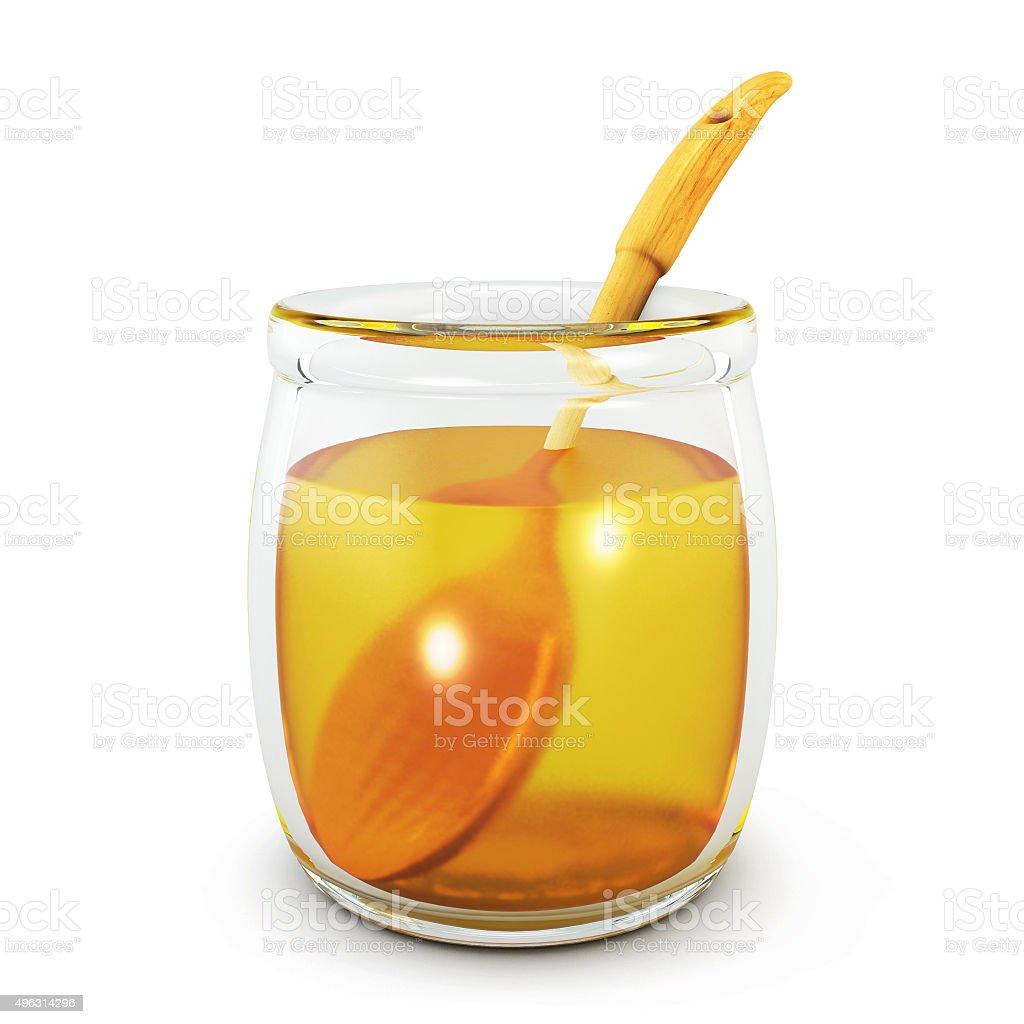 Wooden spoon in an open jar of honey. 3d. stock photo