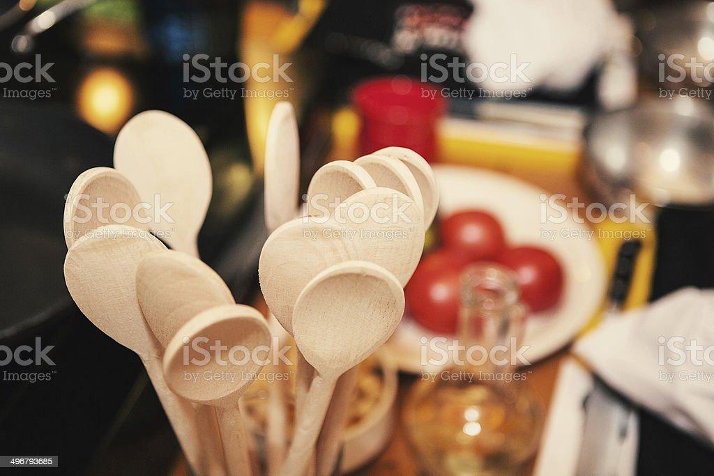 Wooden spoon on kitchen stock photo