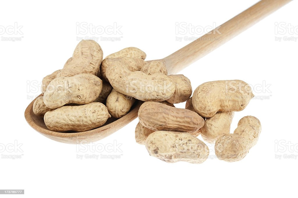 Wooden spoon with peanut stock photo