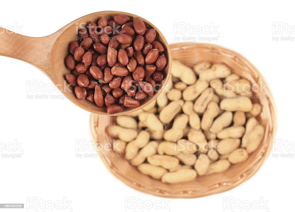 Wooden spoon with peanuts. royalty-free stock photo