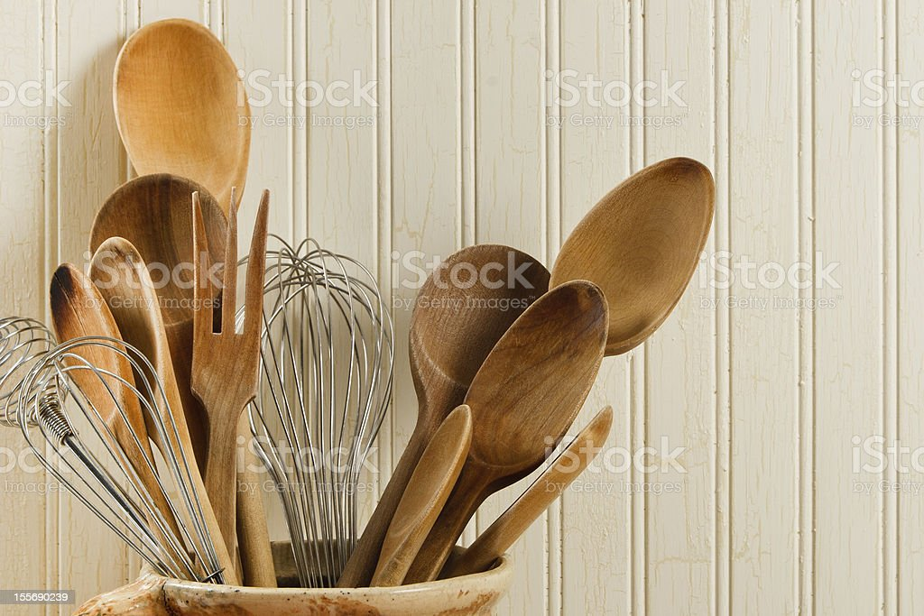 Wooden Spoons And Wire Whisks royalty-free stock photo