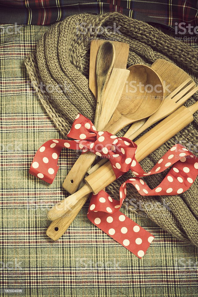 wooden spoons, cookware stock photo