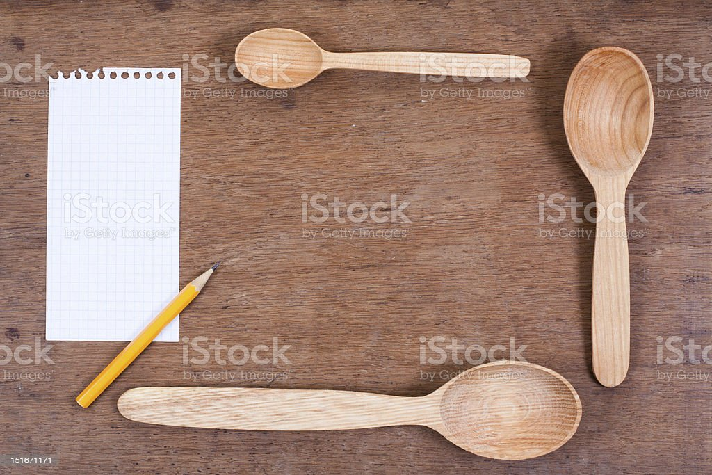 Wooden spoons on wood table royalty-free stock photo