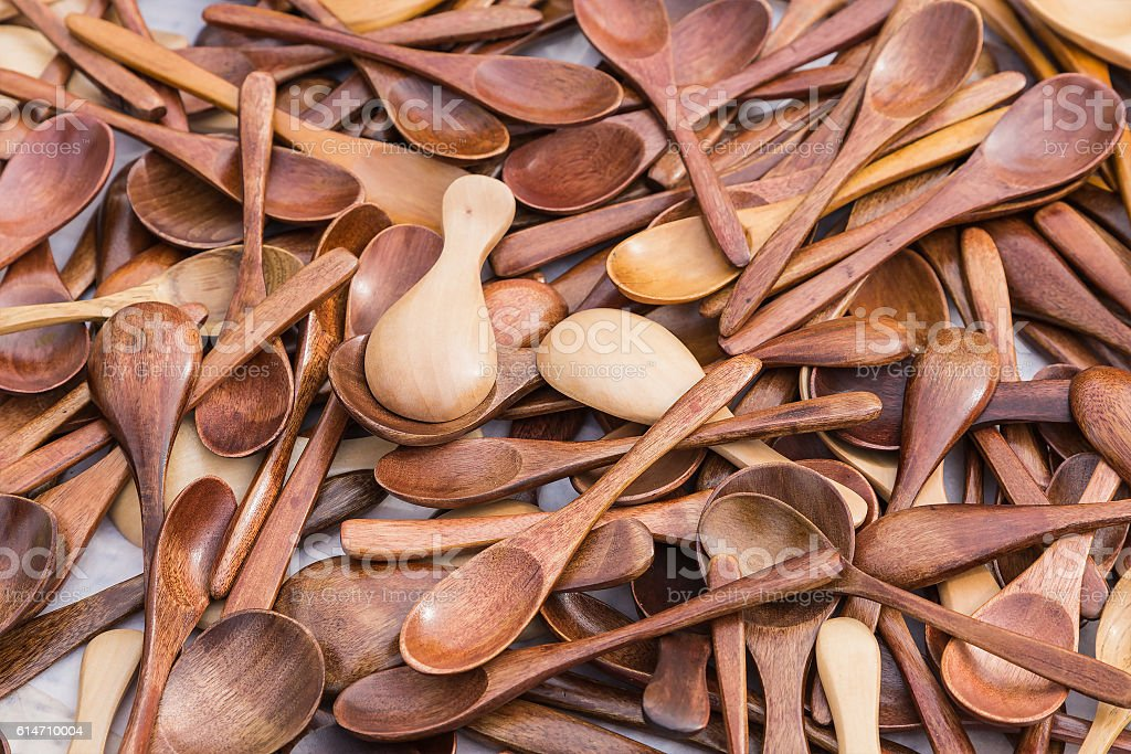 Wooden spoons with different texture stock photo