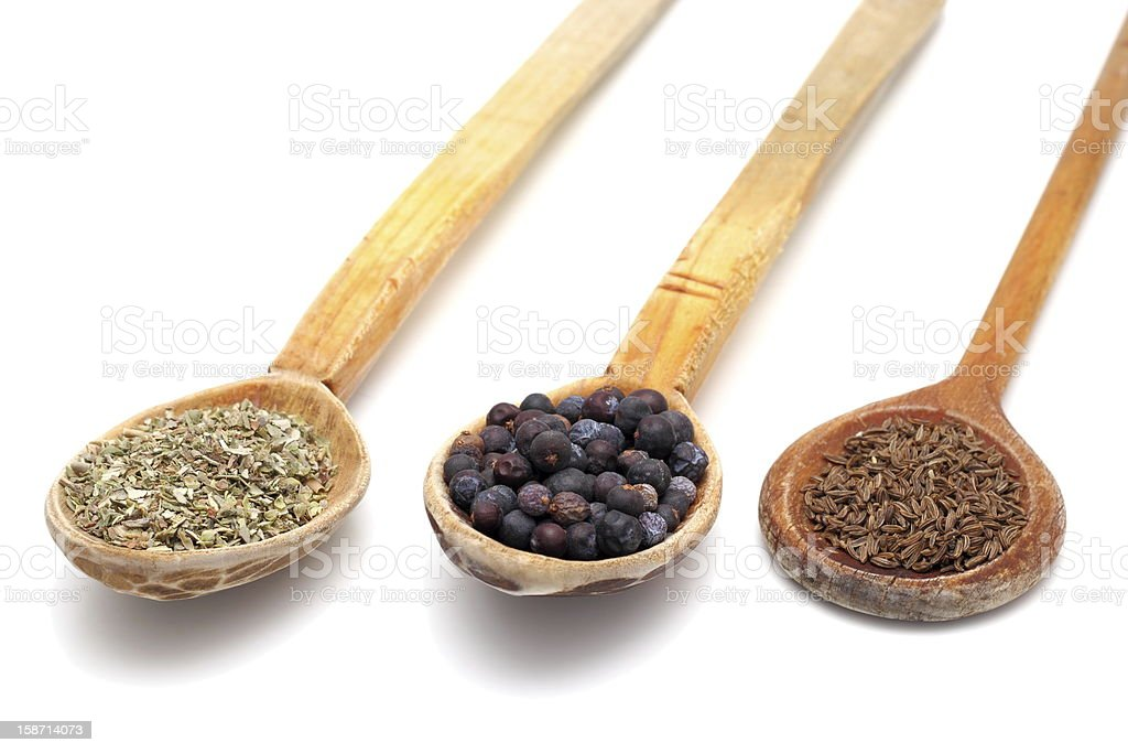 wooden spoons with spices royalty-free stock photo