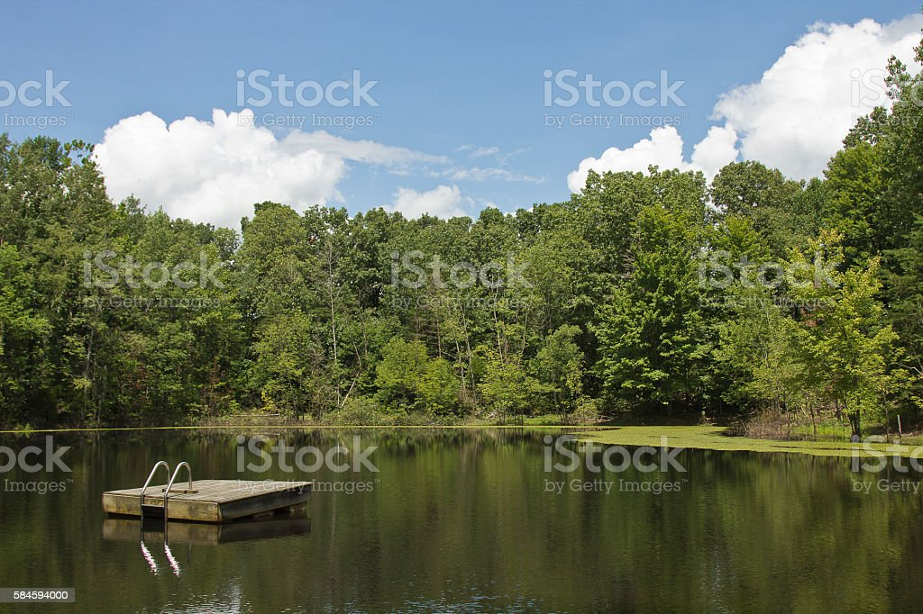 Wooden square raft stock photo