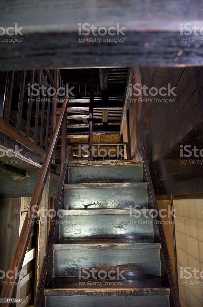 Wooden staircase in an old Japanese farmhouse stock photo