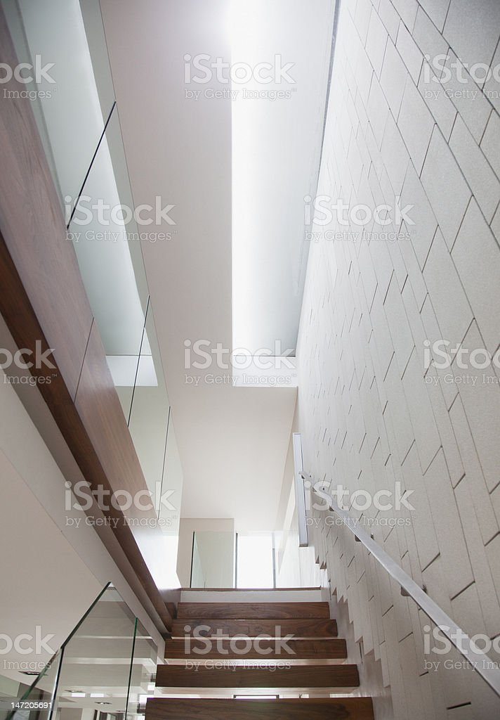 Wooden staircase in modern house royalty-free stock photo