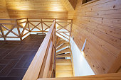 Wooden stairs in a mountain home