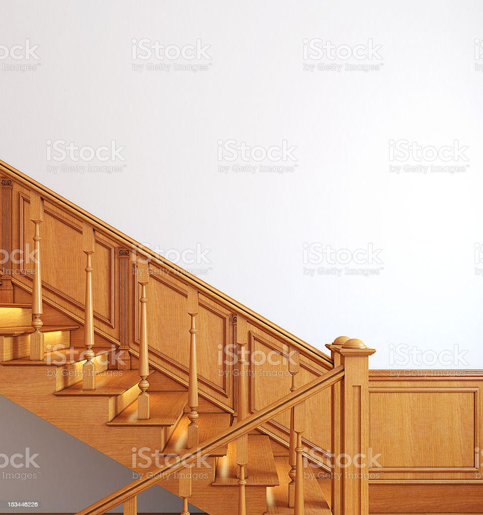 Wooden stairway. royalty-free stock photo
