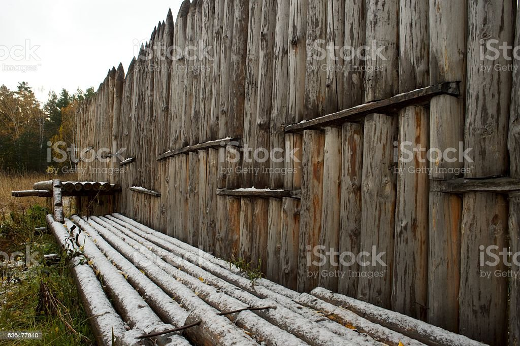Wooden stakes on a background autumn forest stock photo