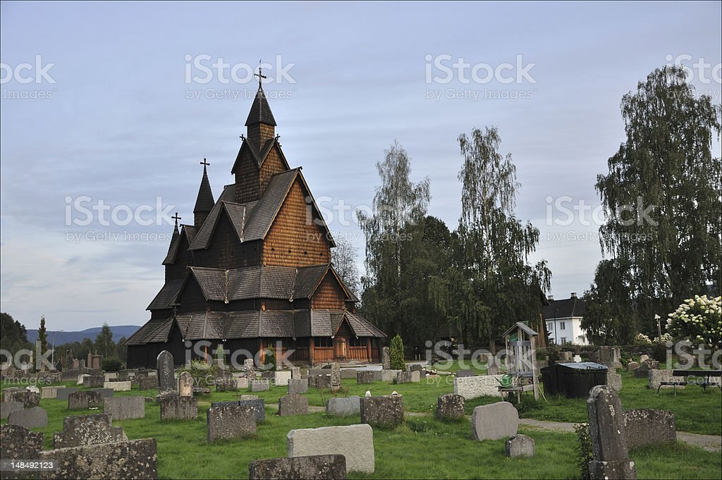 Wooden Stave Church in Heddal, Norway royalty-free stock photo
