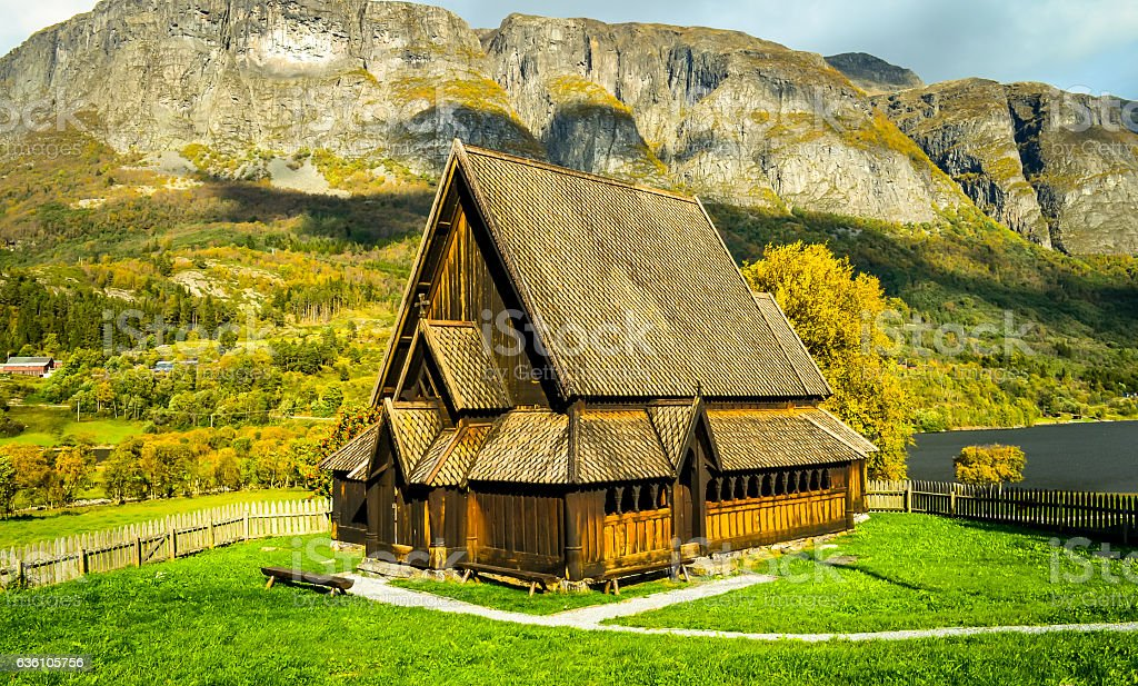 wooden stavechurch in norwegian lonelyness stock photo