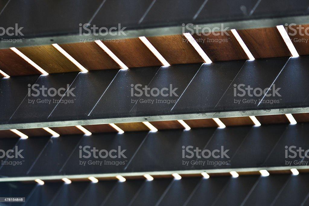 Wooden Steel Sheet Ceilng Deck stock photo