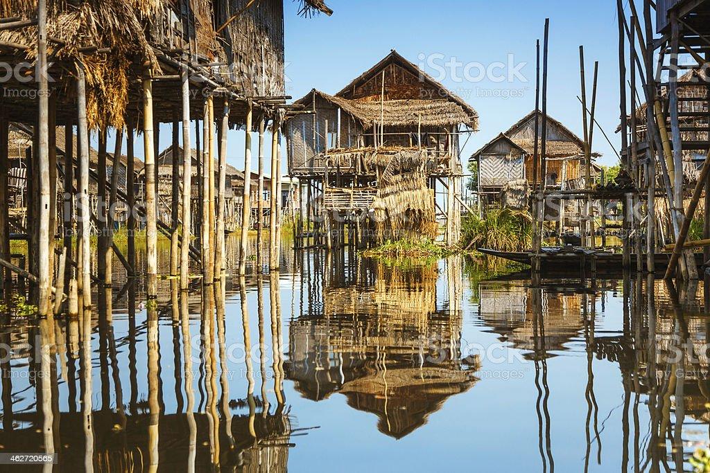 Wooden stilt houses at Inle lake, Myanmar stock photo