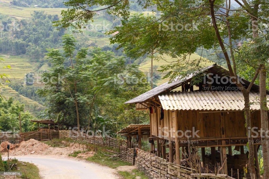 wooden stilts house of ethnic minorities in the high mountains northwest, Vietnam. stock photo