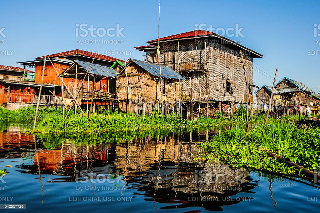 Wooden stilts houses at Inle Lake stock photo