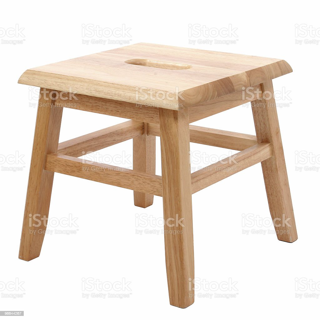 Wooden Stool Over White royalty-free stock photo