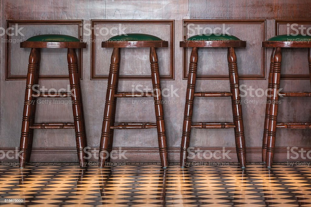Wooden stools stock photo