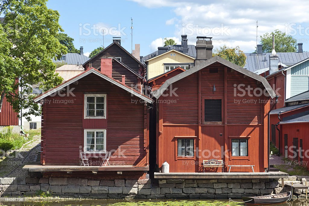 Wooden storage buildings in Porvoo old town Finland royalty-free stock photo