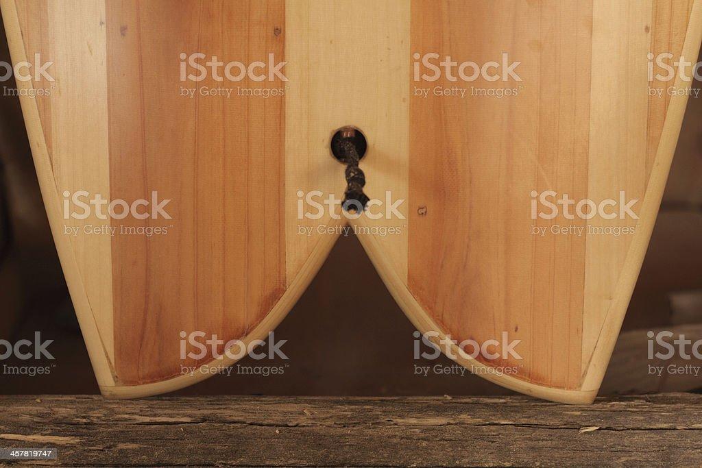 Wooden Surfboard stock photo