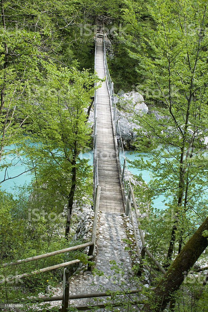 Wooden Suspension Bridge stock photo