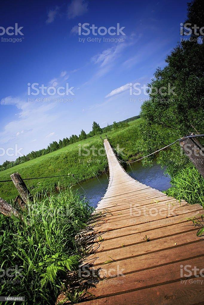 Wooden suspension bridge royalty-free stock photo