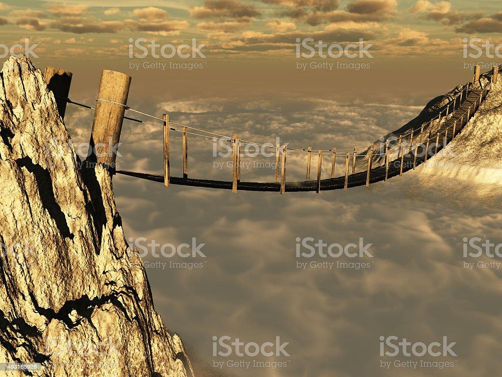 Wooden suspension bridge stock photo