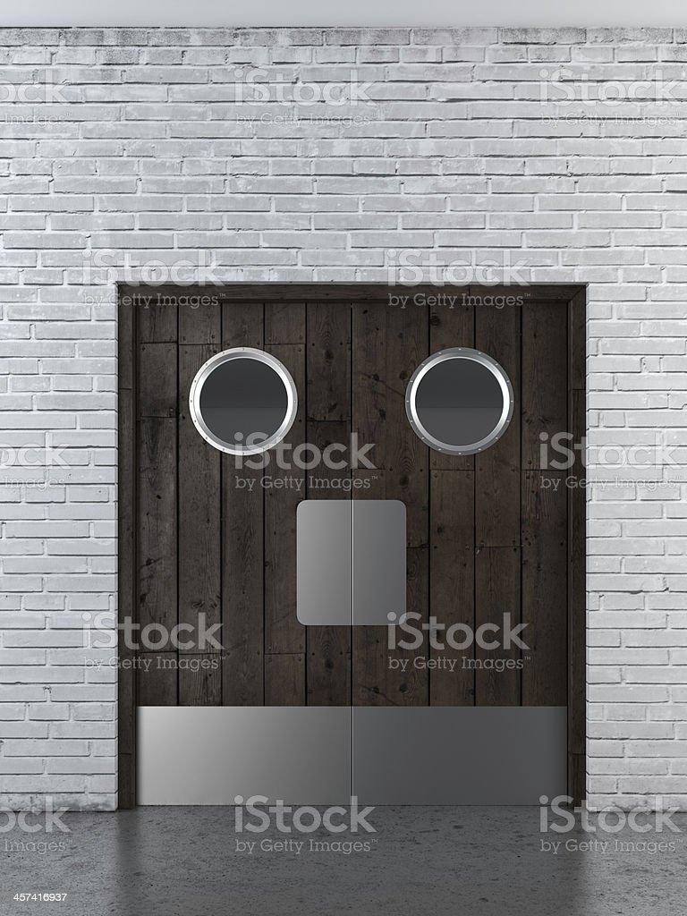 wooden swing doors stock photo