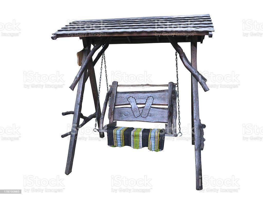 Balanço de madeira com Tapete isolado a branco foto de stock royalty-free