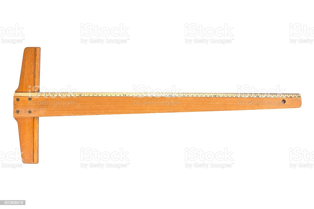 Wooden T Square ruler Tool with inch and centimeter measures stock photo