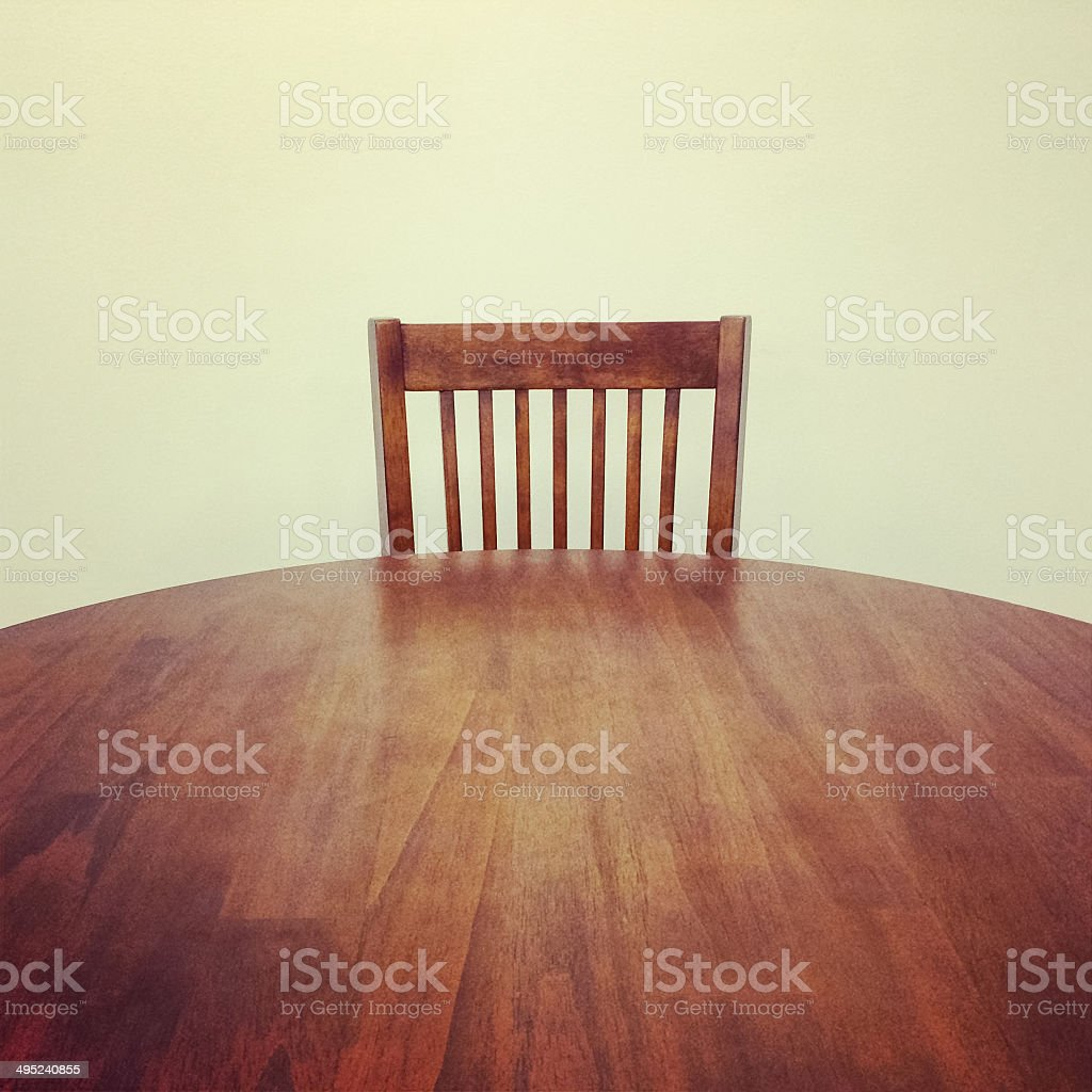 Wooden table and chair stock photo