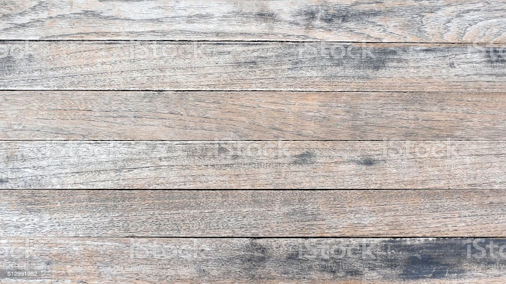 Wooden table background with horizontal plank texture, light gray stock photo