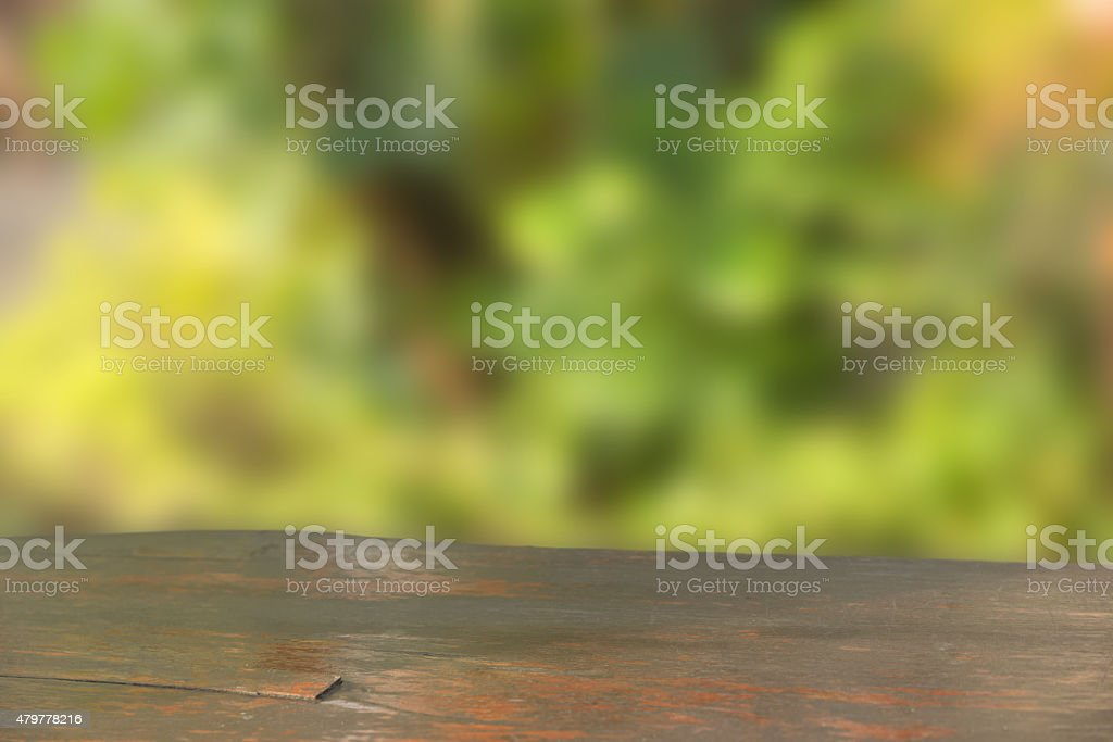 Wooden table in public park stock photo