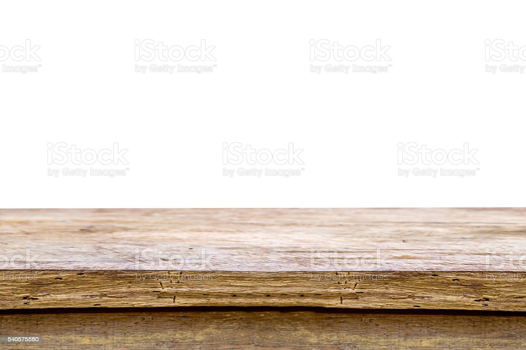 wooden table isolated on white. stock photo