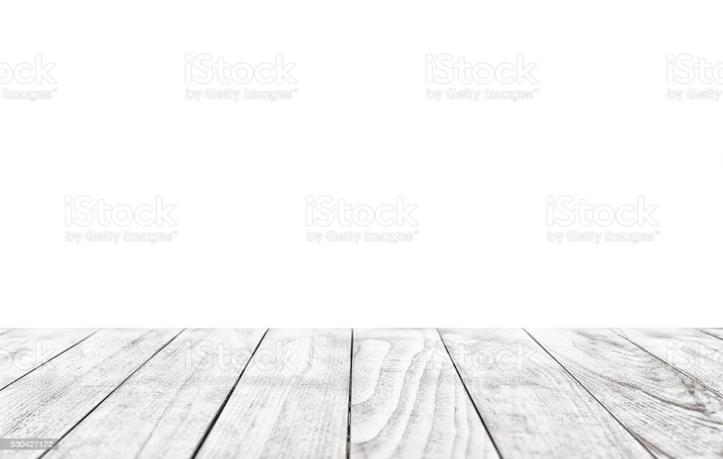 Wooden table isolated over white background stock photo