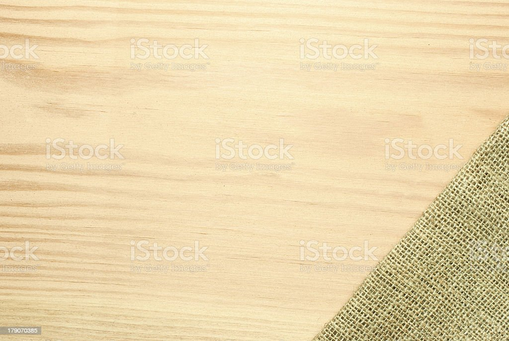 Wooden table label with sackcloth royalty-free stock photo