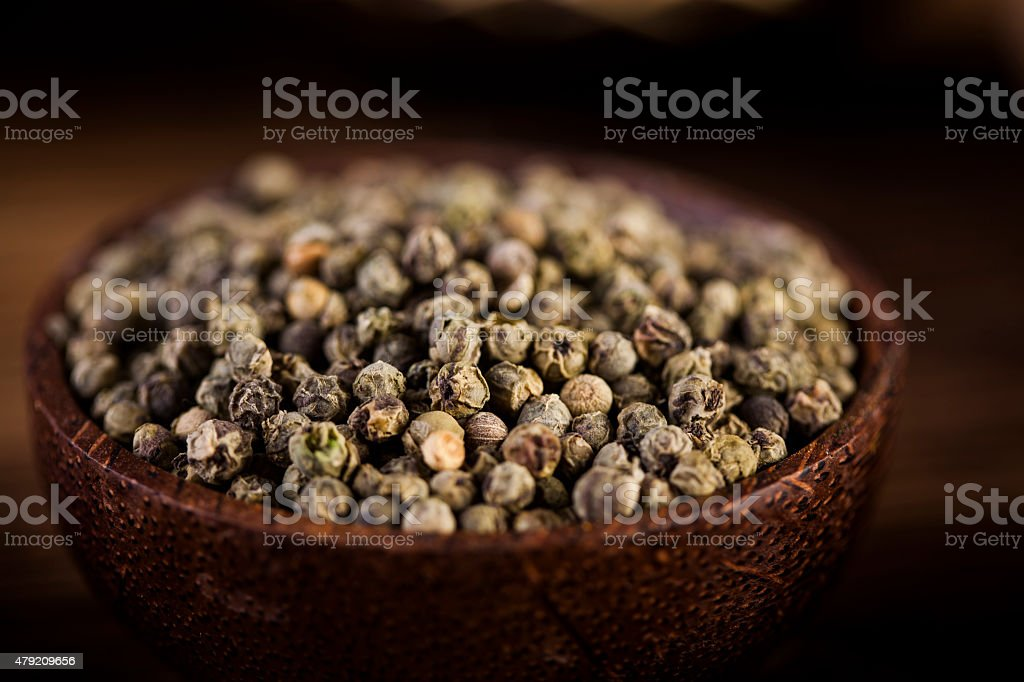 Wooden table of colorful spices stock photo