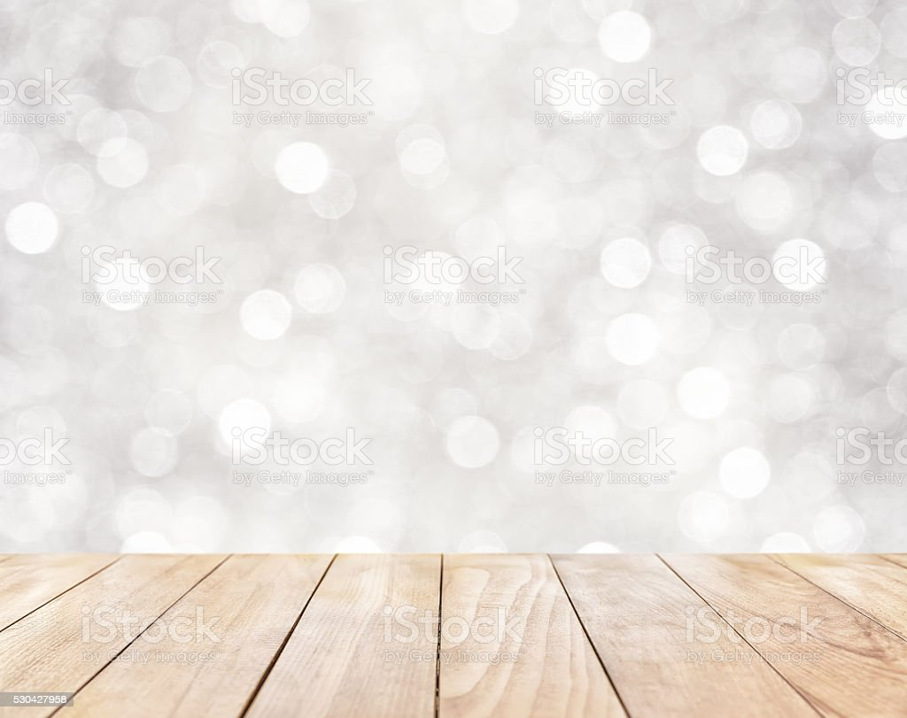 Wooden table on white abstract background stock photo