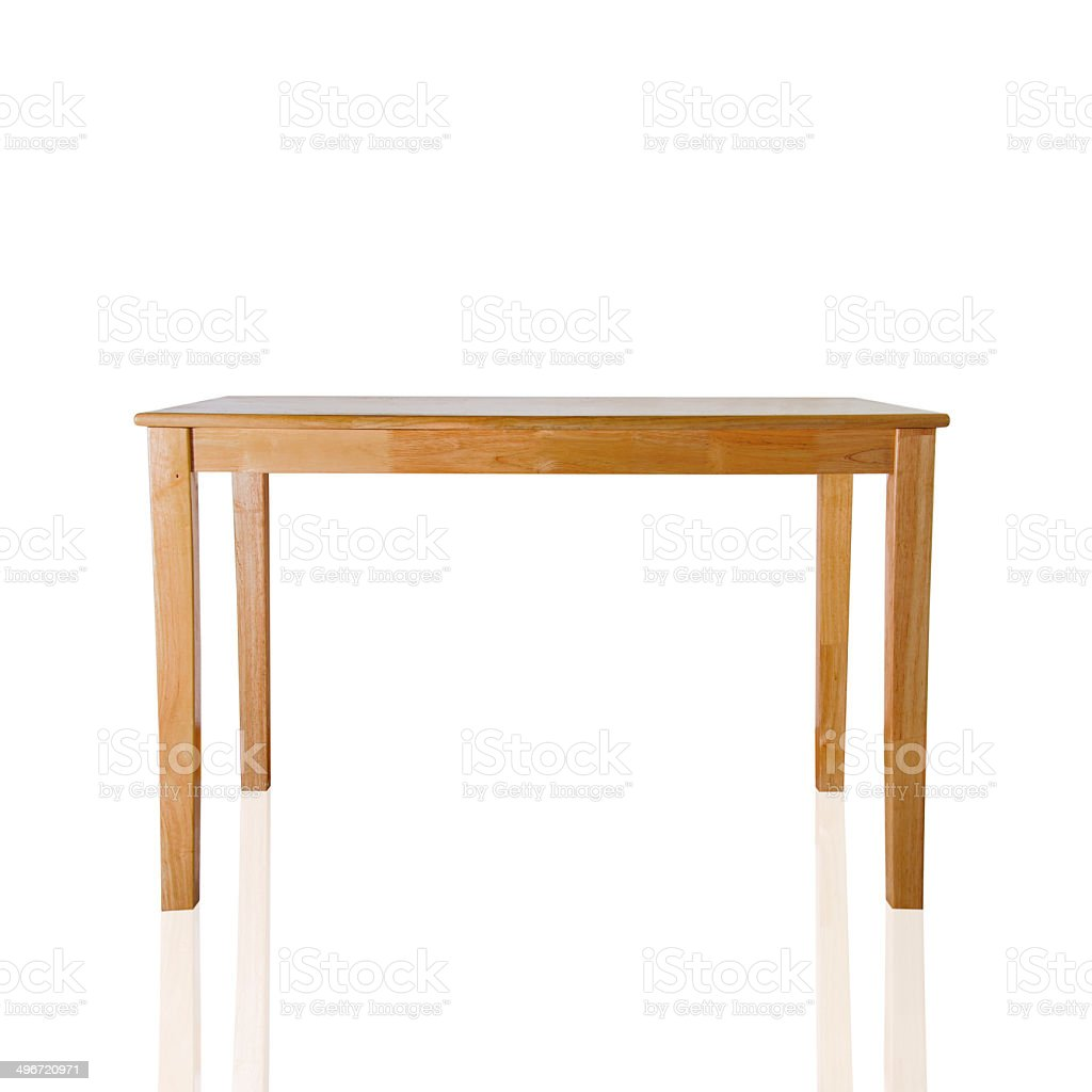 Wooden table on white background. stock photo