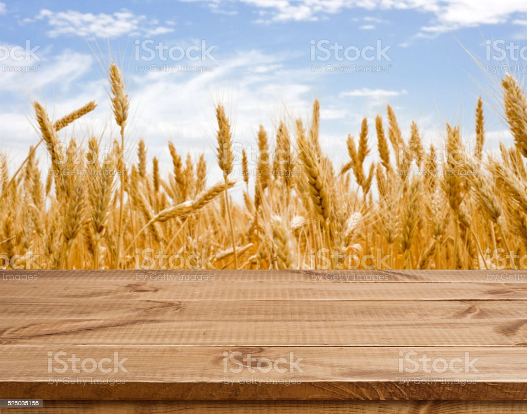 Wooden table surface over defocused golden wheat field landscape background stock photo