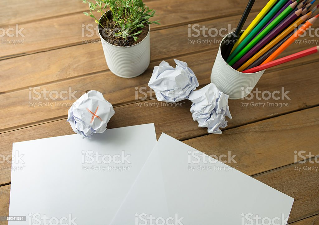Wooden table with  ball of pap stock photo