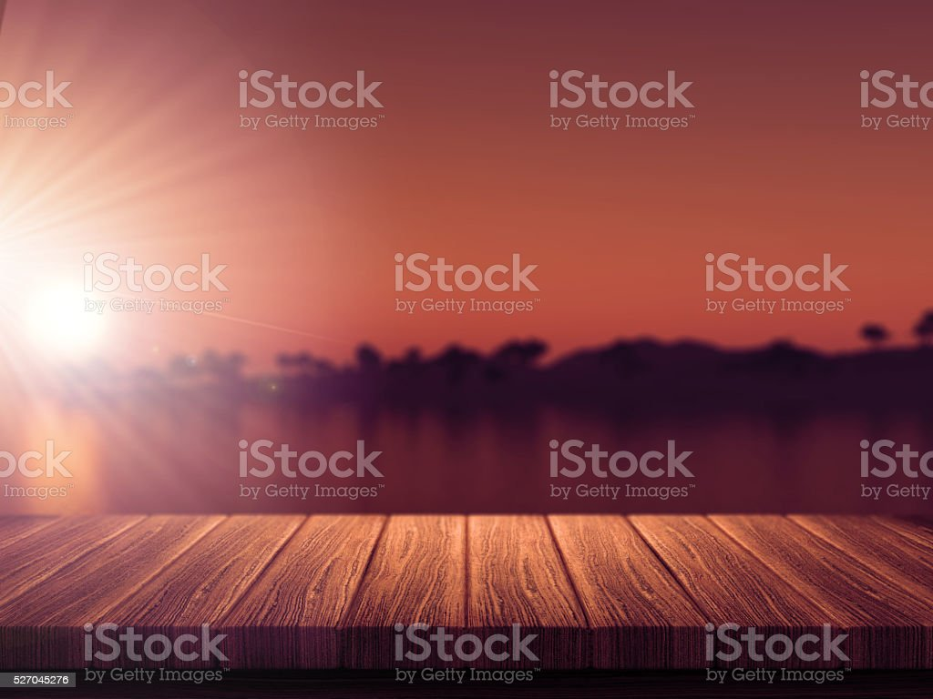 Wooden table with defocussed tropical island stock photo