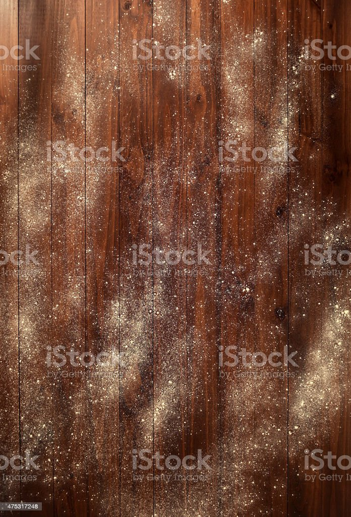 Wooden table with flour stock photo