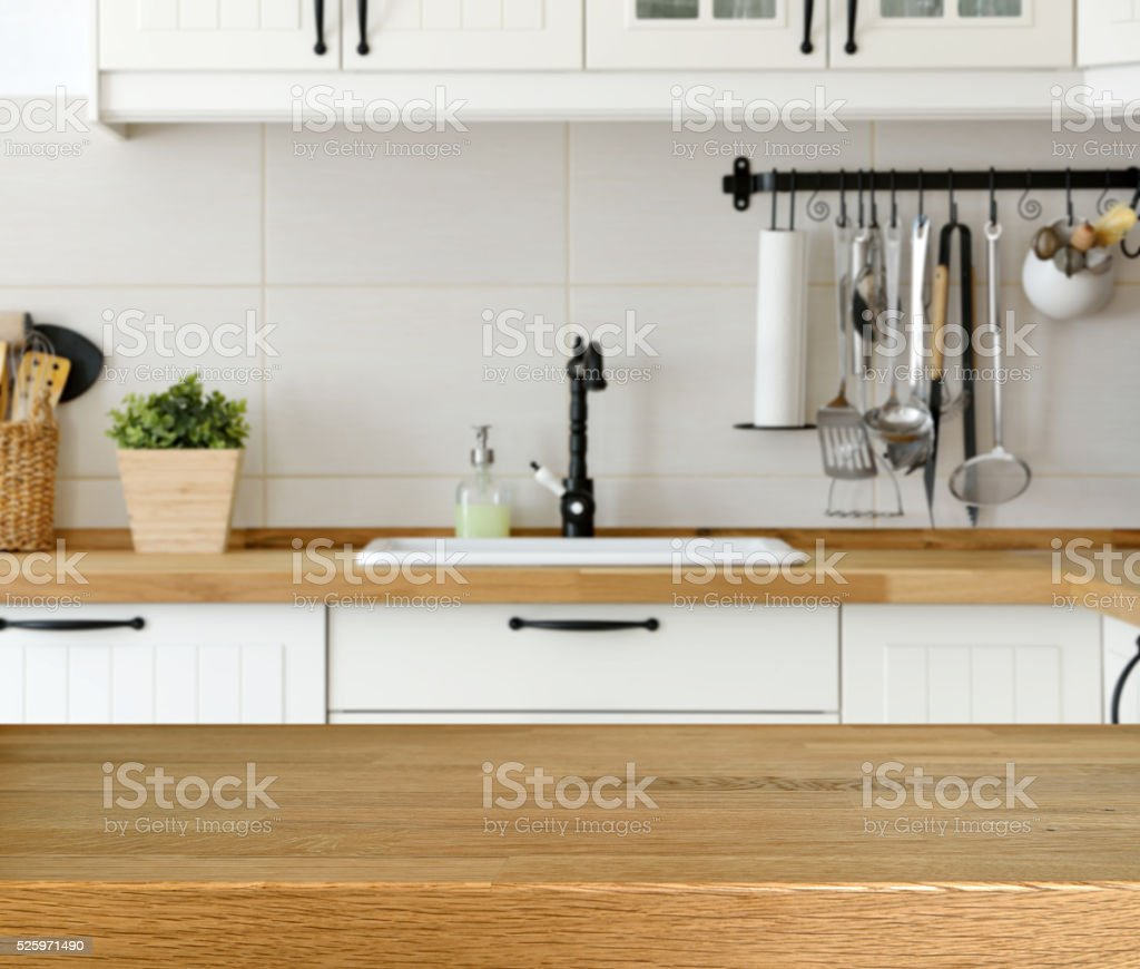wooden table with kitchen counter and sink background stock photo. Interior Design Ideas. Home Design Ideas