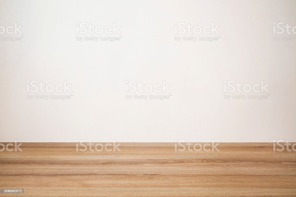 Wooden Table with Wall Background stock photo