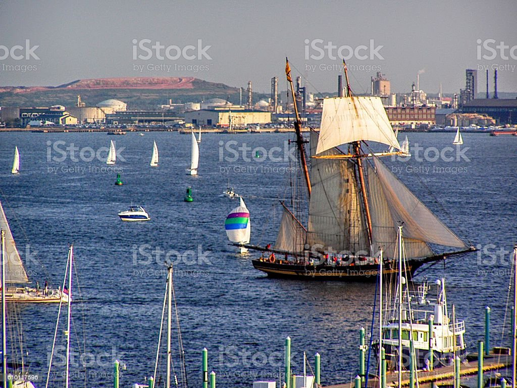 Wooden Tall Ship Pride of Baltimore stock photo