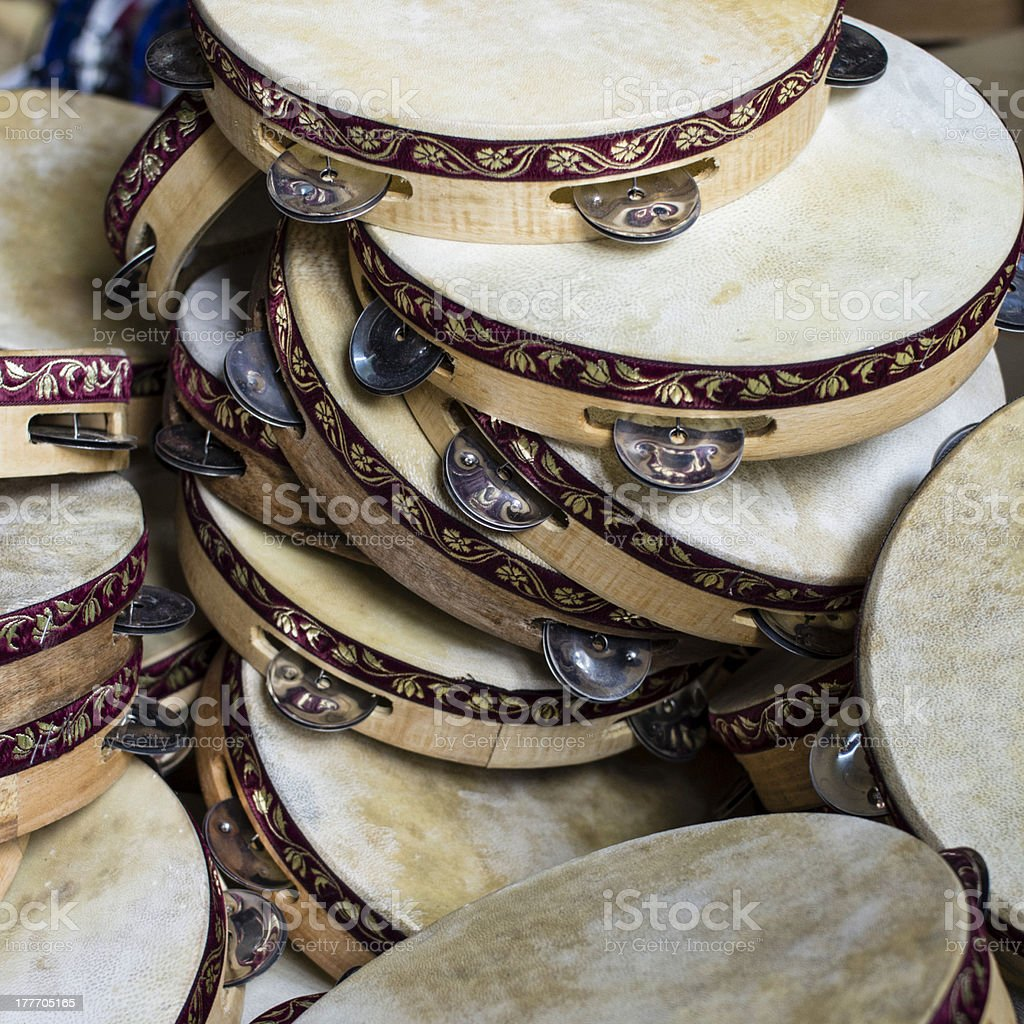 Wooden Tambourines royalty-free stock photo