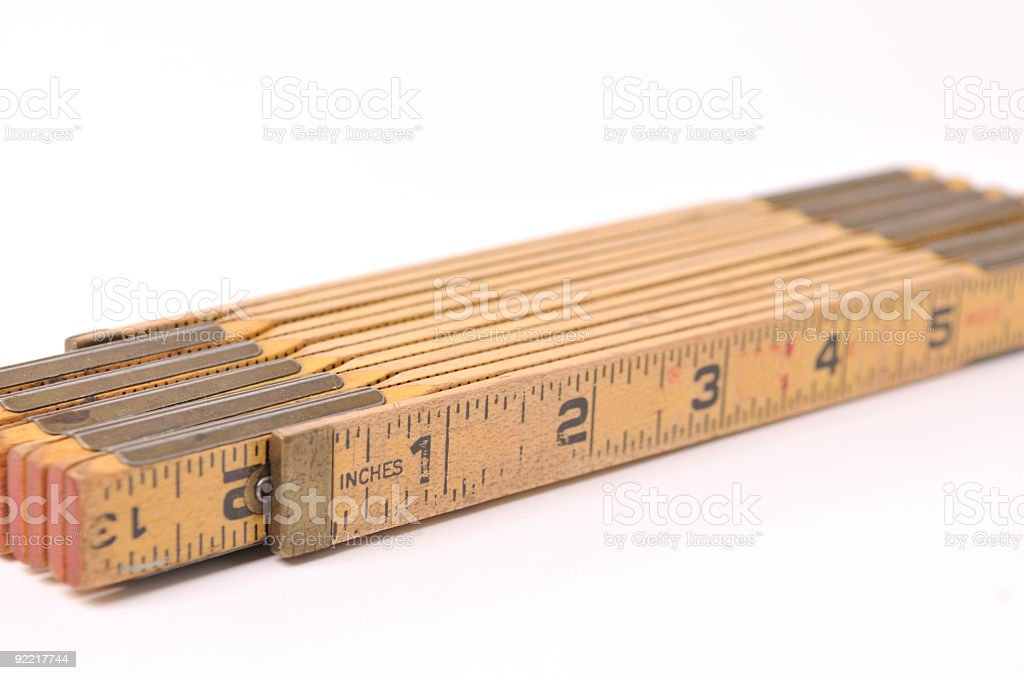 Wooden Tape Measure stock photo